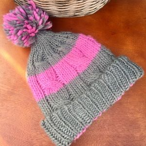 Gray/Pink Winter Hat with Pom